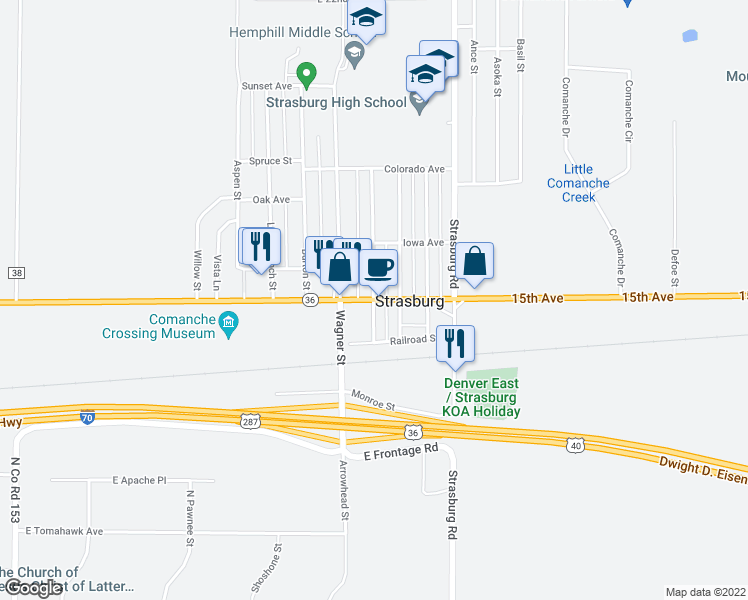 Strasburg Colorado Map.Colfax Avenue Strasburg Co Walk Score