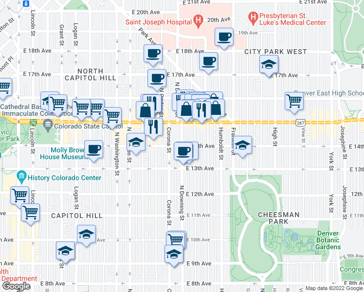 map of restaurants, bars, coffee shops, grocery stores, and more near East 14th Avenue & Downing Street in Denver