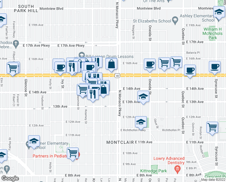 map of restaurants, bars, coffee shops, grocery stores, and more near 6415 East 14th Avenue in Denver