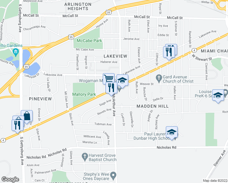 map of restaurants, bars, coffee shops, grocery stores, and more near 917 McArthur Avenue in Dayton
