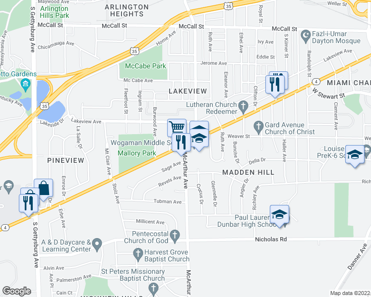 map of restaurants, bars, coffee shops, grocery stores, and more near 925 McArthur Avenue in Dayton