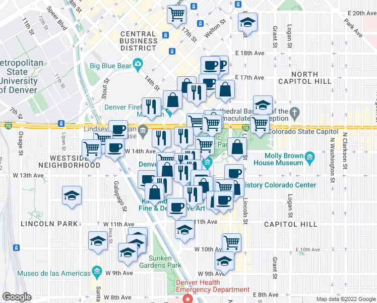 map of restaurants, bars, coffee shops, grocery stores, and more near 1366 Cherokee Street in Denver