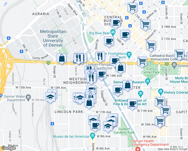 map of restaurants, bars, coffee shops, grocery stores, and more near 1352-1366 Santa Fe Drive in Denver