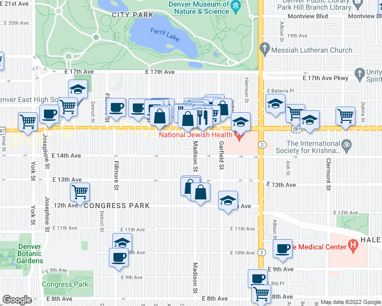 map of restaurants, bars, coffee shops, grocery stores, and more near 3431 East 14th Avenue in Denver