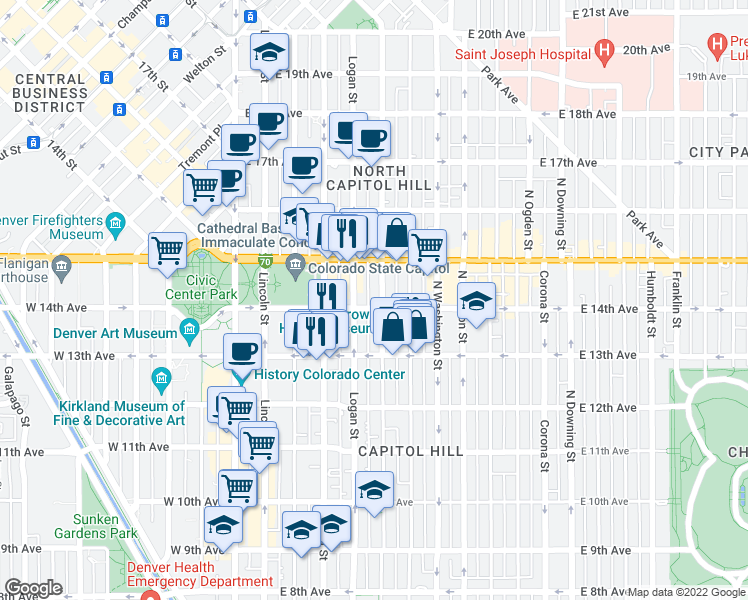 map of restaurants, bars, coffee shops, grocery stores, and more near 429 East 14th Avenue in Denver