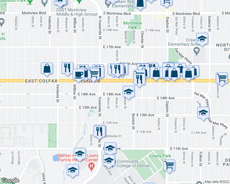 map of restaurants, bars, coffee shops, grocery stores, and more near 9089 East 14th Avenue in Aurora