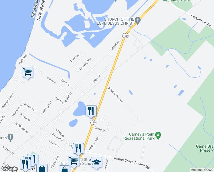 map of restaurants, bars, coffee shops, grocery stores, and more near 21 East Del-A-Vue Avenue in Carneys Point Township