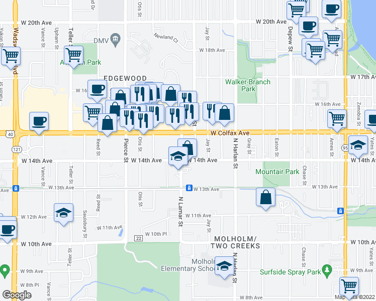 map of restaurants, bars, coffee shops, grocery stores, and more near 1450 Kendall Street in Denver