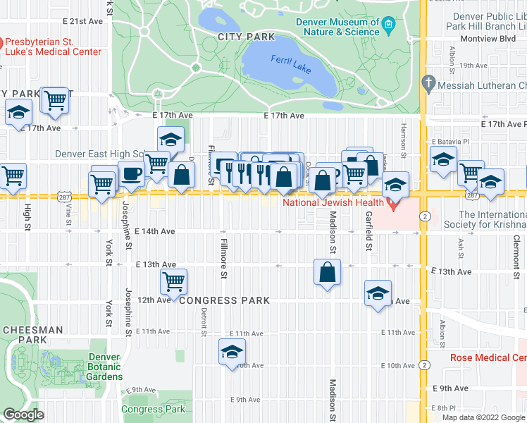 map of restaurants, bars, coffee shops, grocery stores, and more near 1444 Saint Paul Street in Denver