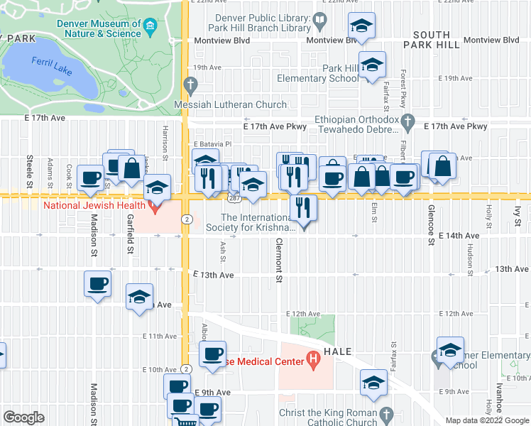 map of restaurants, bars, coffee shops, grocery stores, and more near 1460 Birch Street in Denver