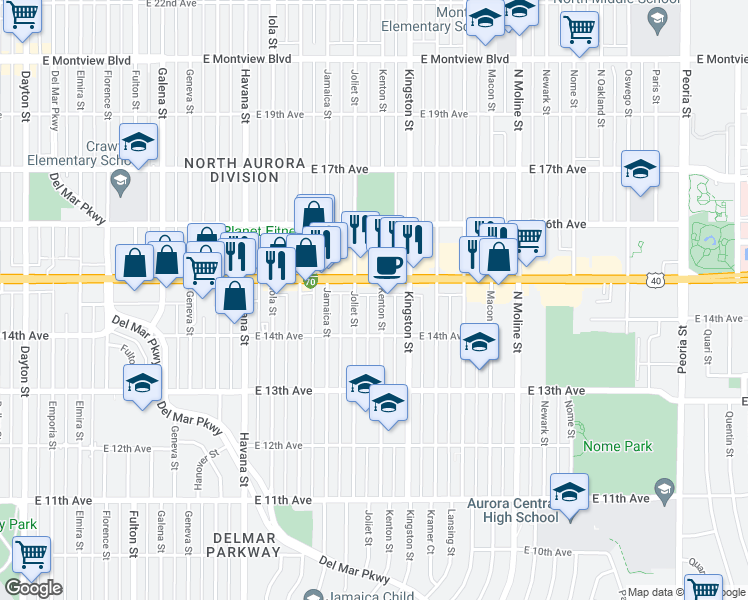 map of restaurants, bars, coffee shops, grocery stores, and more near 1457 Kenton Street in Aurora
