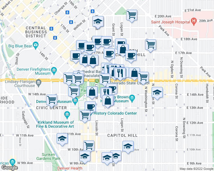 map of restaurants, bars, coffee shops, grocery stores, and more near 200 East Colfax Avenue in Denver