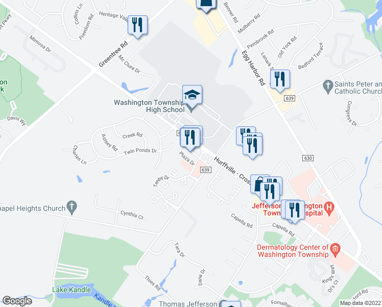 map of restaurants, bars, coffee shops, grocery stores, and more near 508 Hurffville Crosskeys Road in Washington Township