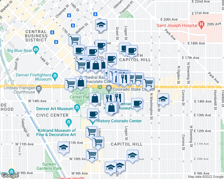 map of restaurants, bars, coffee shops, grocery stores, and more near 1525 Sherman Street in Denver