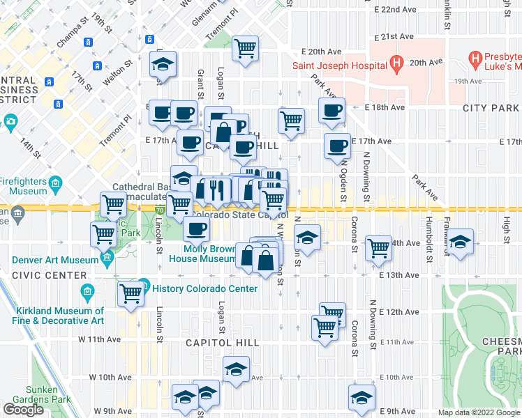 map of restaurants, bars, coffee shops, grocery stores, and more near E Colfax Ave & Pearl St in Denver