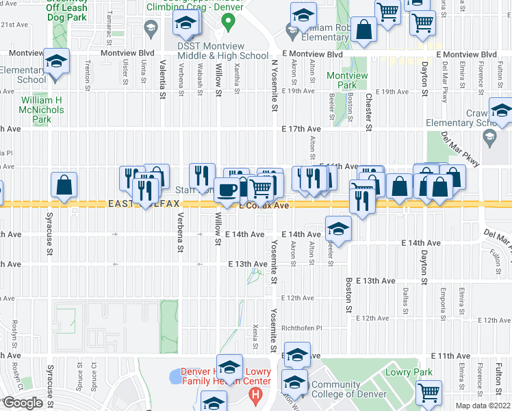Map Of Restaurants Bars Coffee Shops Grocery Stores And More Near E