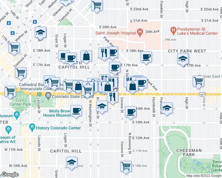 map of restaurants, bars, coffee shops, grocery stores, and more near 1528 Emerson Street in Denver