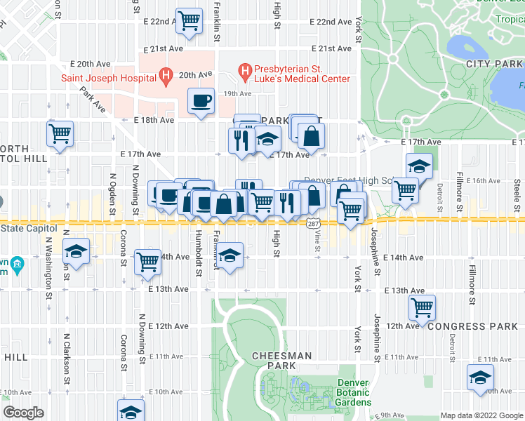 map of restaurants, bars, coffee shops, grocery stores, and more near 1530 Williams Street in Denver