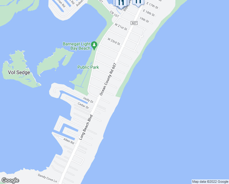 map of restaurants, bars, coffee shops, grocery stores, and more near 12 East 29th Street in Barnegat Light