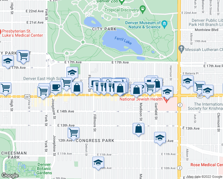 map of restaurants, bars, coffee shops, grocery stores, and more near 1531 Steele Street in Denver