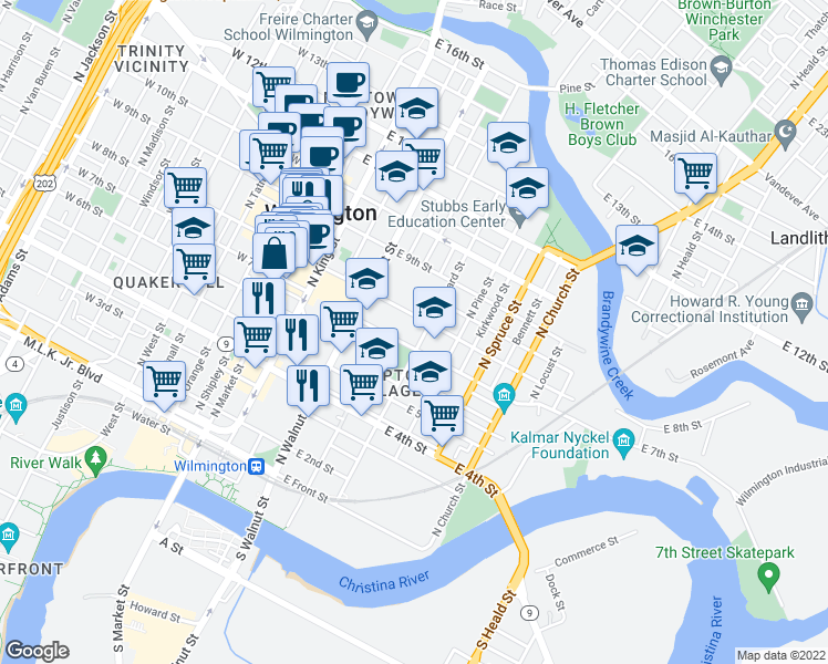 map of restaurants, bars, coffee shops, grocery stores, and more near 701-799 North Lombard Street in Wilmington
