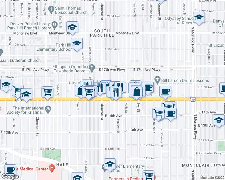 map of restaurants, bars, coffee shops, grocery stores, and more near 1544 Grape Street in Denver