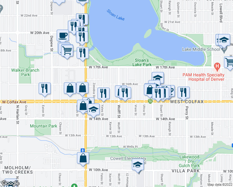 map of restaurants, bars, coffee shops, grocery stores, and more near 1551 Wolff Street in Denver