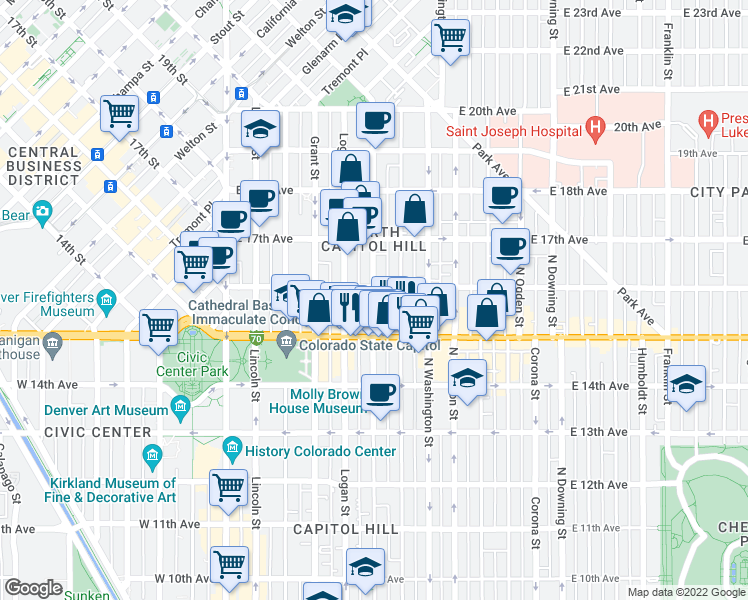 map of restaurants, bars, coffee shops, grocery stores, and more near 1550 Pennsylvania Street in Denver
