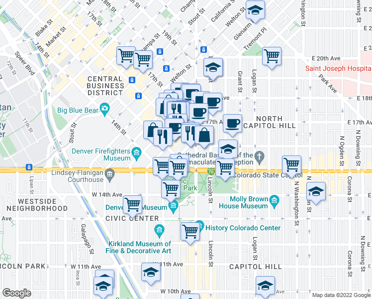 map of restaurants, bars, coffee shops, grocery stores, and more near Cleveland Place in Denver