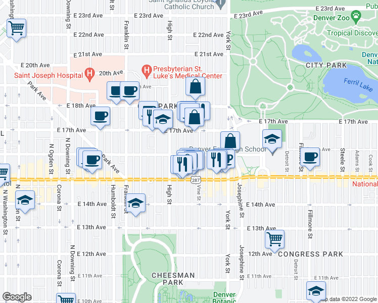 map of restaurants, bars, coffee shops, grocery stores, and more near 1600 Race Street in Denver