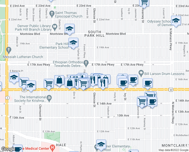 map of restaurants, bars, coffee shops, grocery stores, and more near E 16th Ave & Glencoe St in Denver