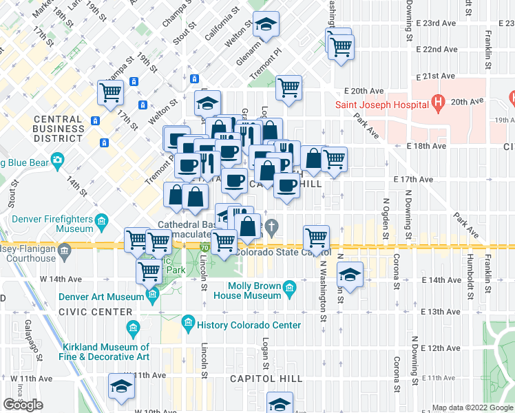 map of restaurants, bars, coffee shops, grocery stores, and more near 333 East 16th Avenue in Denver
