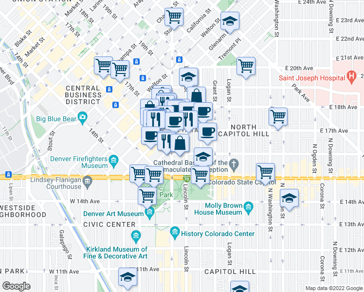 map of restaurants, bars, coffee shops, grocery stores, and more near 1641-1699 Lincoln Street in Denver