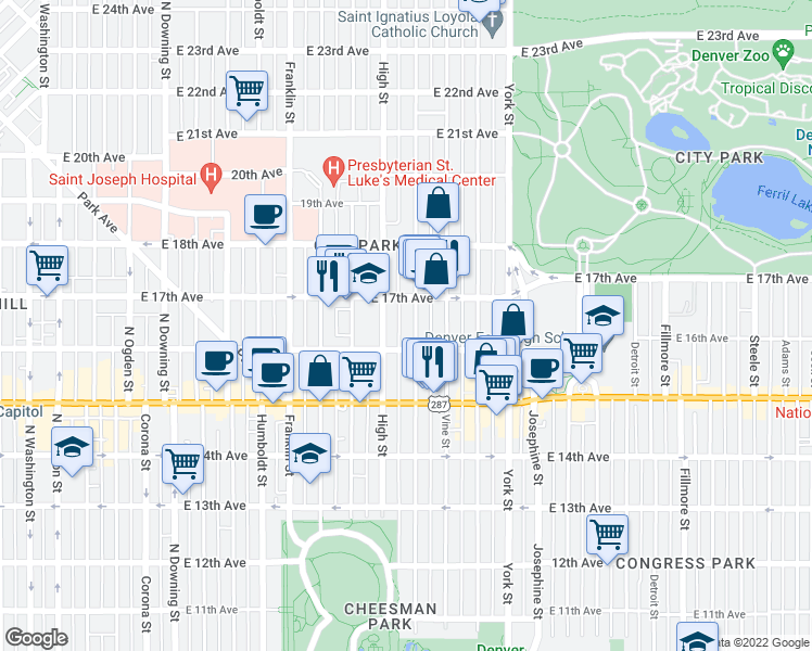 map of restaurants, bars, coffee shops, grocery stores, and more near 1639 Race Street in Denver