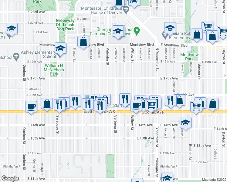 map of restaurants, bars, coffee shops, grocery stores, and more near 1611 Verbena Street in Denver