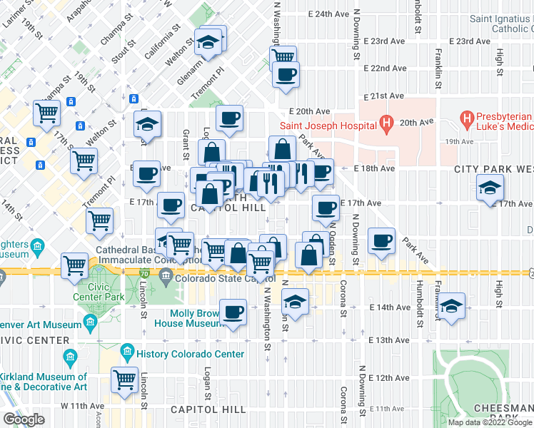 map of restaurants, bars, coffee shops, grocery stores, and more near 1651 Washington Street in Denver