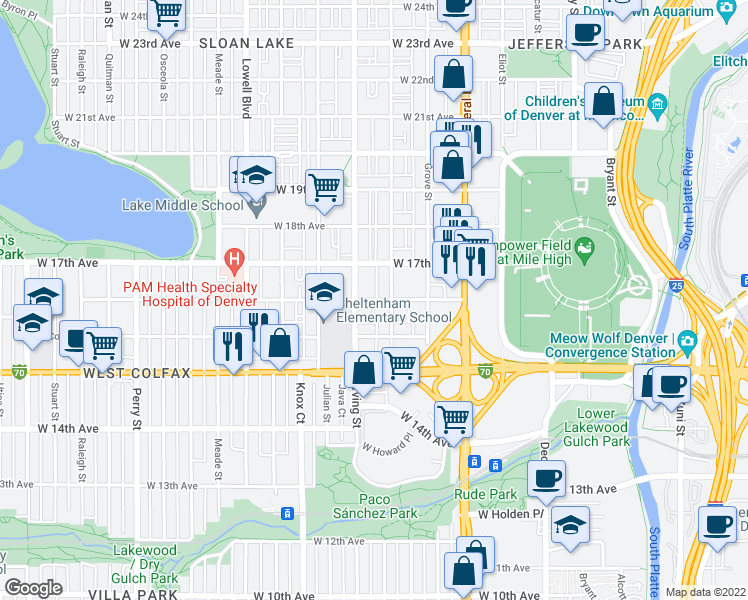 map of restaurants, bars, coffee shops, grocery stores, and more near 3223 West 16th Avenue in Denver