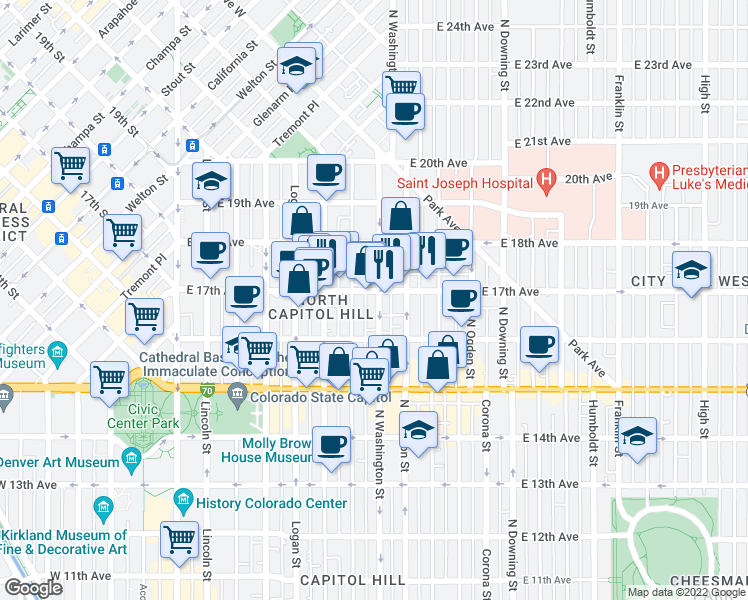 map of restaurants, bars, coffee shops, grocery stores, and more near 1671 North Washington Street in Denver