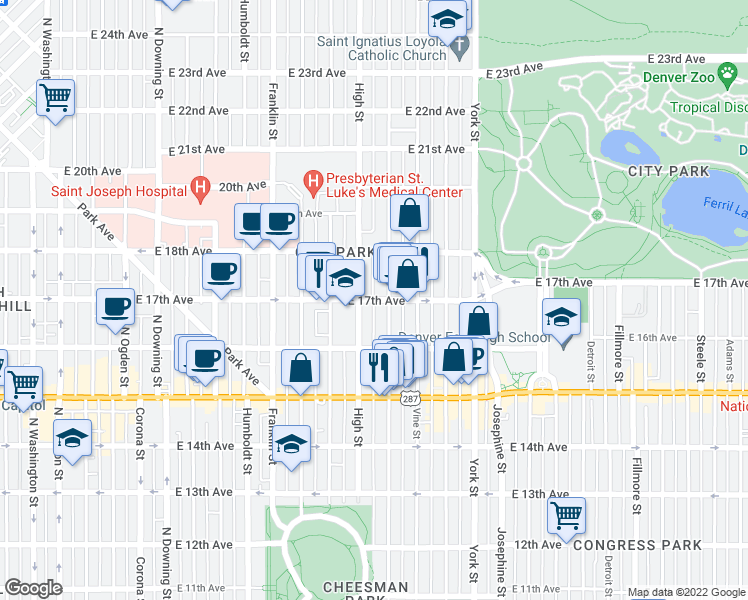 map of restaurants, bars, coffee shops, grocery stores, and more near 1646 North High Street in Denver