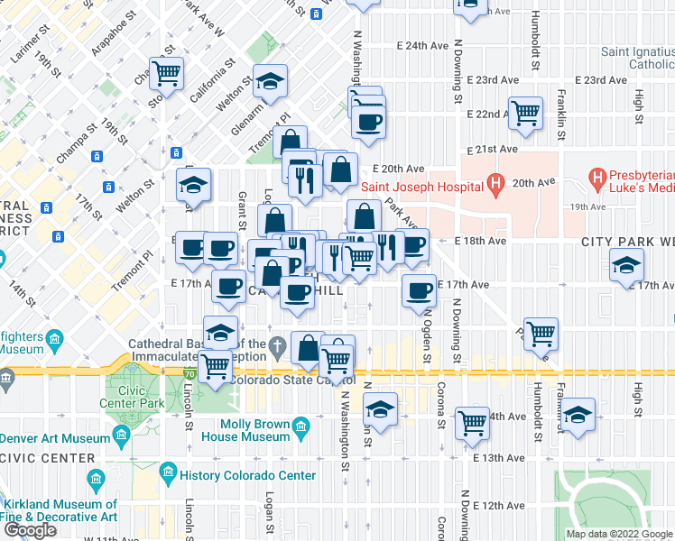 map of restaurants, bars, coffee shops, grocery stores, and more near 1721 North Washington Street in Denver