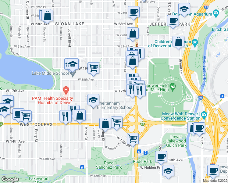 map of restaurants, bars, coffee shops, grocery stores, and more near 3201-3235 West 17th Avenue in Denver