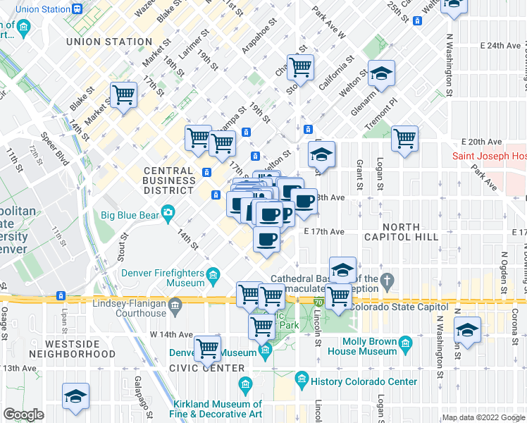 map of restaurants, bars, coffee shops, grocery stores, and more near 1600 Glenarm Place in Denver