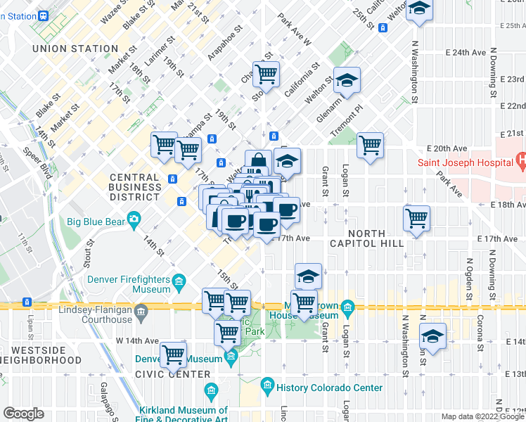 map of restaurants, bars, coffee shops, grocery stores, and more near 1776 Broadway in Denver