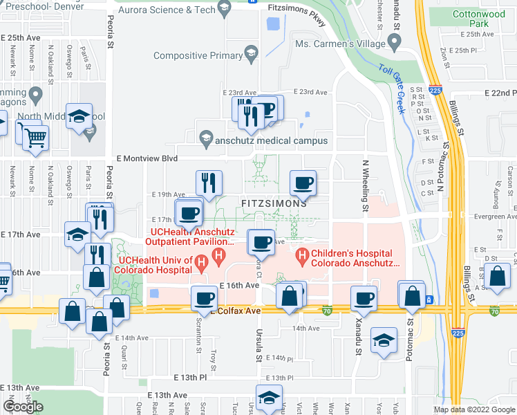 map of restaurants, bars, coffee shops, grocery stores, and more near 13001 East 17th Place in Aurora
