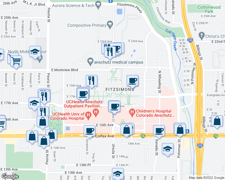 map of restaurants, bars, coffee shops, grocery stores, and more near 13001 East 17th Pla
