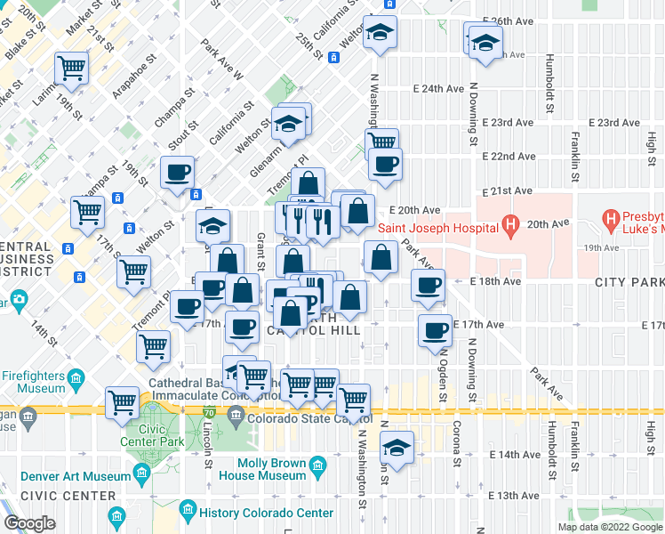 map of restaurants, bars, coffee shops, grocery stores, and more near 1827 Pearl Street in Denver