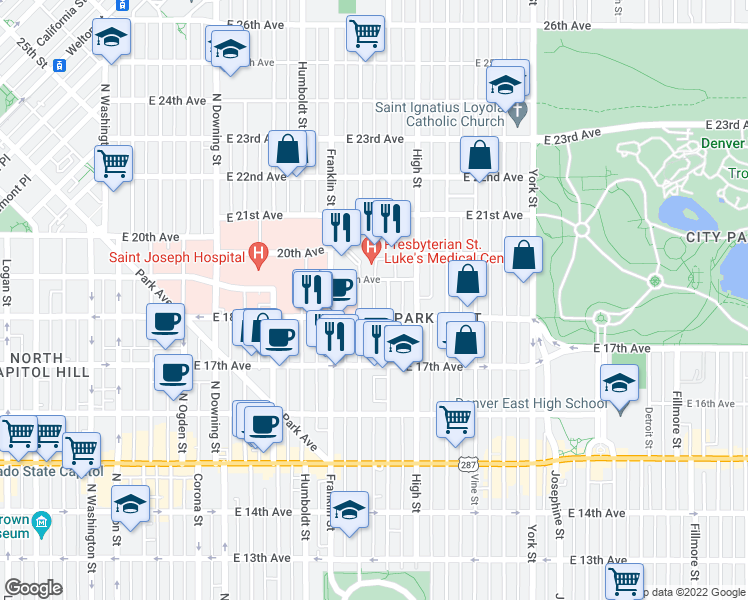 map of restaurants, bars, coffee shops, grocery stores, and more near 1834 Gilpin Street in Denver