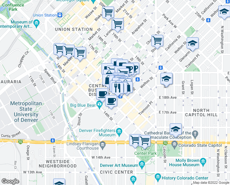 map of restaurants, bars, coffee shops, grocery stores, and more near 720 16th Street in Denver