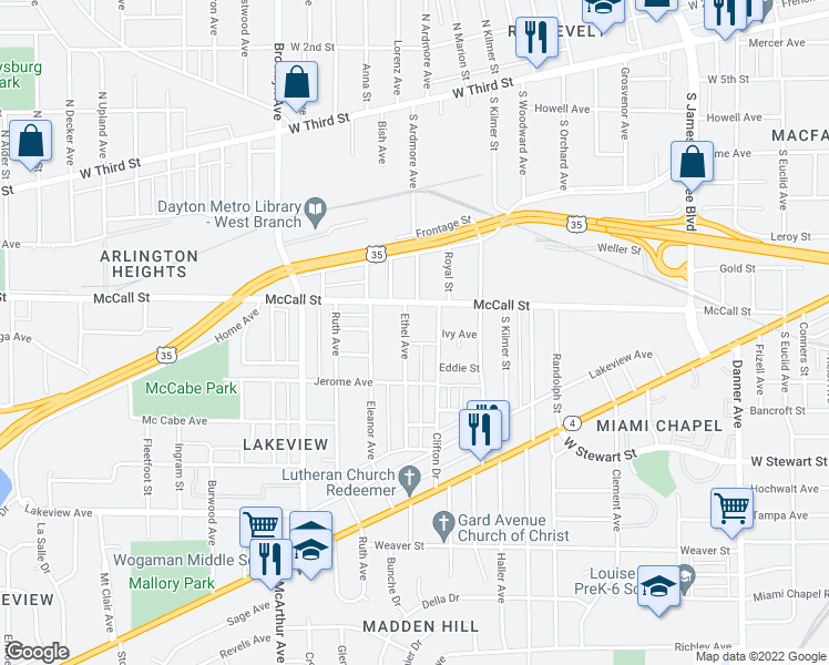 map of restaurants, bars, coffee shops, grocery stores, and more near 432 Ethel Avenue in Dayton