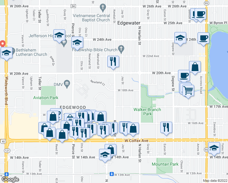 map of restaurants, bars, coffee shops, grocery stores, and more near 1790 Kendall Street in Lakewood